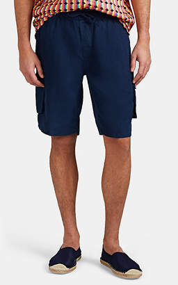 Onia Men's Micro-Basket-Weave Linen Drawstring Shorts - Navy
