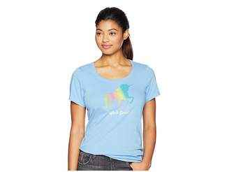 Life is Good Rainbow Unicorn Crusher Scoop Neck T-Shirt