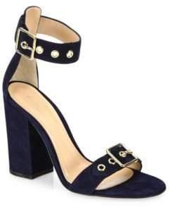 Gianvito Rossi Hayes Buckle Suede Ankle-Strap Block Heel Sandals