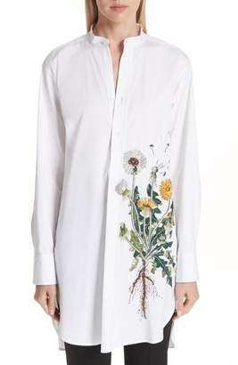 Oscar de la Renta Embellished Dandelion Longline Blouse