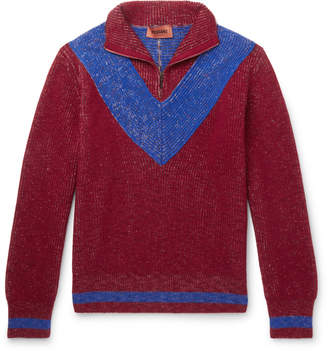 Missoni Colour-Block Ribbed Wool Half-Zip Sweater