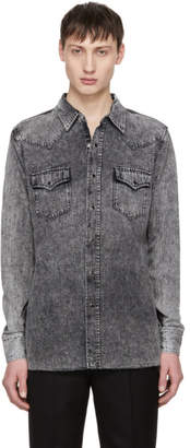 Saint Laurent Grey Denim Western Shirt