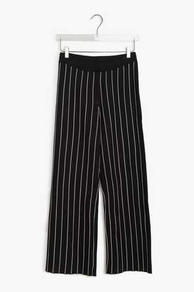 Genuine People Wide Leg Cotton Blend Striped Pants