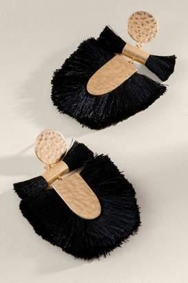 francesca's Lana Statement Tassel Earrings - Black