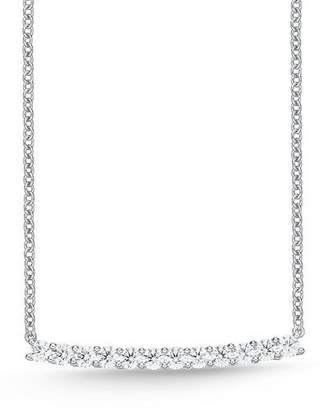 Memoire 18k White Gold Large Diamond Bar Pendant Necklace