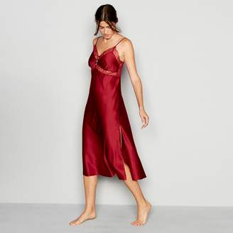 J by Jasper Conran Dark Red Lace Trim Satin 'Lizzie' Nightdress