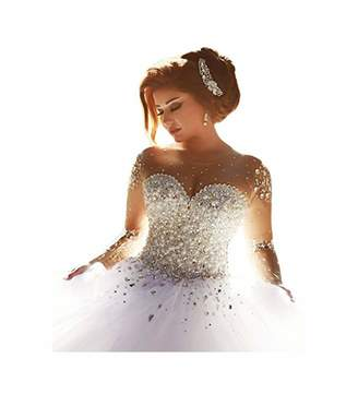 e94deb9b0b0 ScelleBridal Gorgeous 2016 Pearls Beading Long Sleeves Ball Wedding Dresses  for Bride 24W