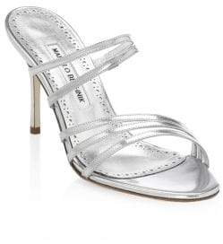 Manolo Blahnik Andena Strappy Patent Leather Sandals
