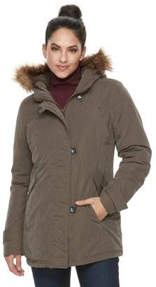 KC Collections Women's Hooded Faux-Fur Trim Microfiber Jacket