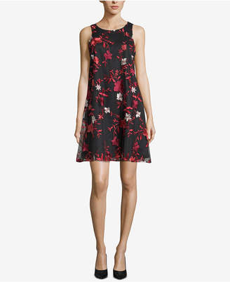 ECI Floral-Embroidered Shift Dress