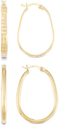 Macy's 2-Pc. Brushed and Polished Oval Hoop Earrings Set in 14k Gold Over Sterling Silver