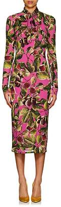 Dolce & Gabbana Women's Fig-Print Stretch-Silk Tieneck Dress