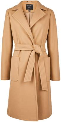 Dorothy Perkins Womens Camel Patch Pocket Wrap Coat