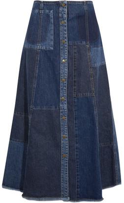 McQ Alexander McQueen - Patchwork Denim Midi Skirt - Indigo $450 thestylecure.com