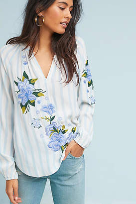 Akemi + Kin Embroidered & Striped Blouse