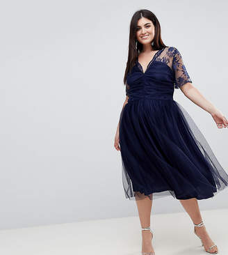 Asos Lace Top Midi Dress With Ruched Bodice