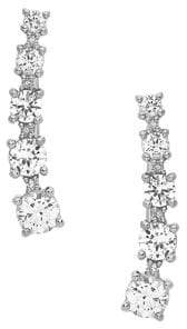 Lord & Taylor Diamond, White Topaz and Sterling Silver Climber Earrings