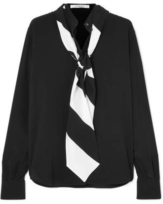 Givenchy Pussy-bow Silk Crepe De Chine Blouse - Black