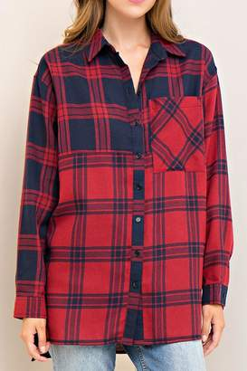 Entro Plaid Button Down Top