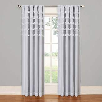 Eclipse Curtains Eclipse Kids 13748050X084WHI Ruffle Batiste 50-Inch by 84-Inch Blackout Single Window Curtain Panel