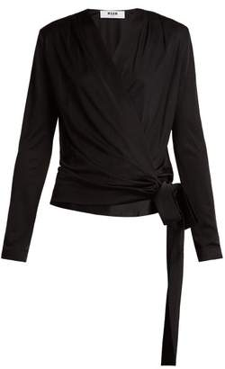 MSGM Tie Waist Wrap Top - Womens - Black