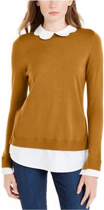 Maison Jules Scalloped-Neck Layered-Look Sweater