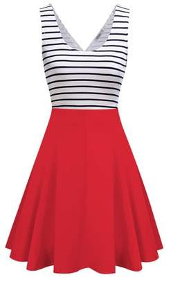 GlowSol Women Hollow out Sexy Dress Stripe Sleveeless Mini Dress Color:Red Size:XL