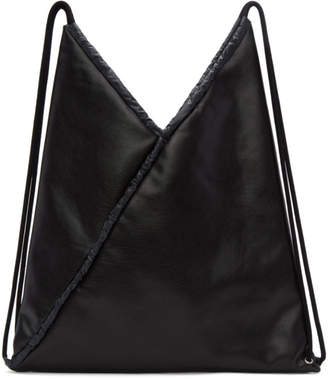 MM6 Maison Martin Margiela Black Faux-Leather Backpack