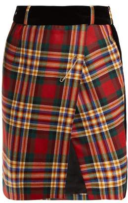 Alexandre Vauthier Tartan Wool Wrap Mini Skirt - Womens - Red Multi