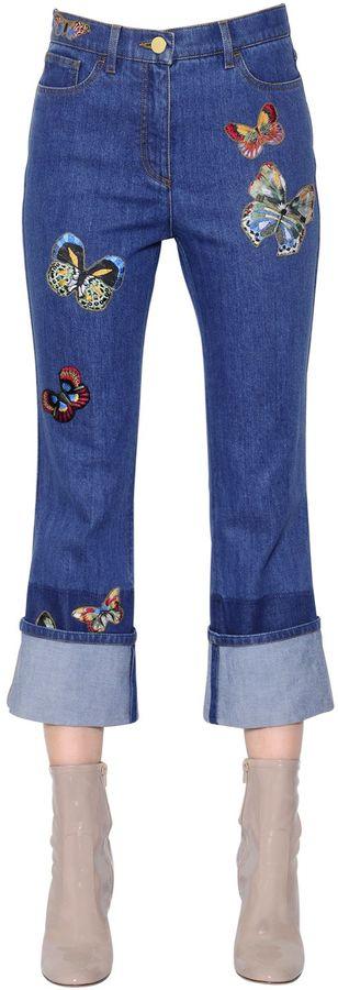 ValentinoButterfly Embroidered Cotton Denim Jeans