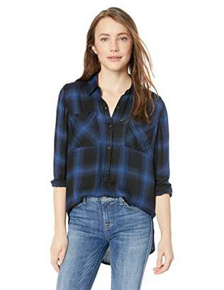 Lucky Brand Women's Tunic Plaid 3/4 Button UP Shirt
