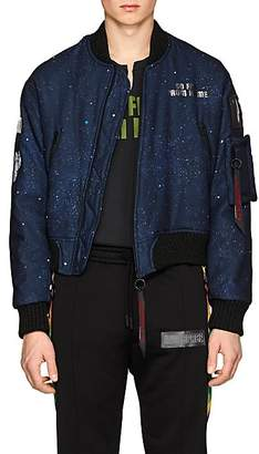 Off-White c/o Art Dad Men's New Age Galaxy-Print Tech-Satin Bomber Jacket - Navy
