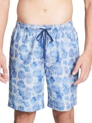 Leaf-Print Swim Shorts