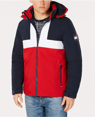 Tommy Hilfiger Men's Colorblocked Ski Jacket with Removable Hood