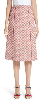 Gucci GG Print Canvas A-Line Skirt