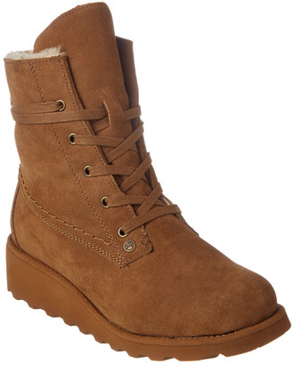 BearPaw Women's Krista Savvy Slim Tread Neverwet Suede Wedge Boot