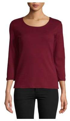 Karen Scott Petite Three-Quarter Sleeve Cotton Top