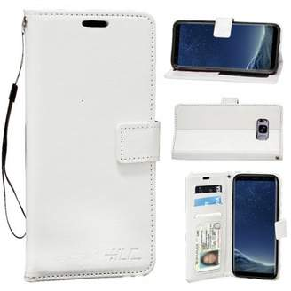 HLC Real Plain Leather Wallet Case for Galaxy S8 - White