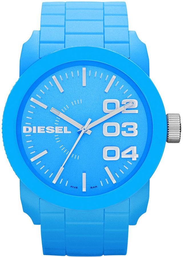 Diesel Watch, Unisex Blue Silicone Strap 44mm DZ1571