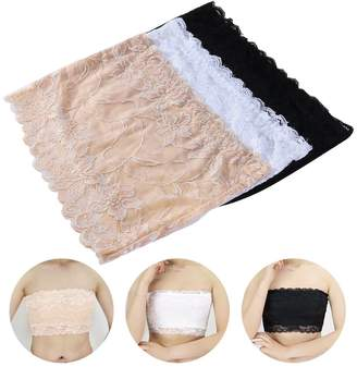 798bb3a33bbeb LUOEM Floral Lace Stretchy Strapless See Through Bandeau Tube Top with Bra  3pcs