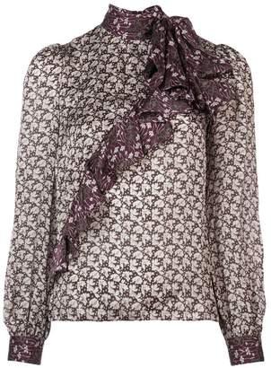 Co ruffle detail printed blouse