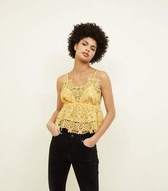 New Look Mustard Crochet Lace Peplum Cami
