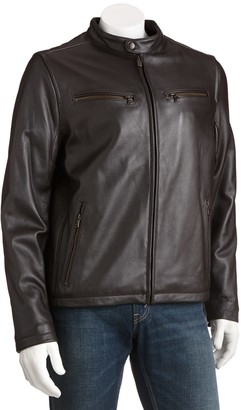 Dockers Leather Motorcycle Racer Jacket - Men