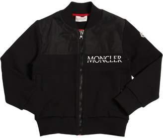 Moncler Logo Print Cotton & Nylon Sweatshirt
