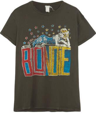 MadeWorn - Blondie Distressed Printed Cotton-jersey T-shirt - Black