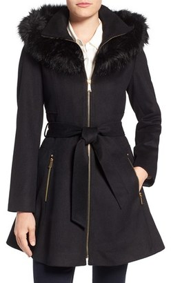 Laundry by Shelli Segal Laundry by Shelly Segal Faux Fur Trim Wool Blend Fit & Flare Coat $300 thestylecure.com