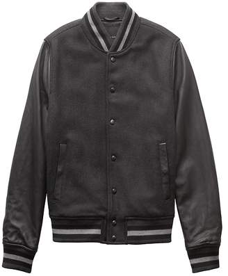 Banana Republic BR x Kevin Love | Italian Wool Blend Varsity Jacket with Leather Sleeves