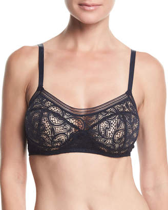 Neiman Marcus Else Paisley Full-Cup Lace Underwire Bra