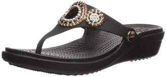 Crocs Women's Sanrah Diamante Flip Wedges, Black/Rose Gold
