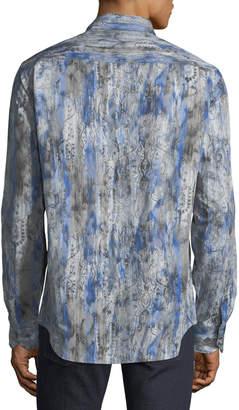 Bugatchi Men's Classic-Fit Washed Paisley Woven Sport Shirt
